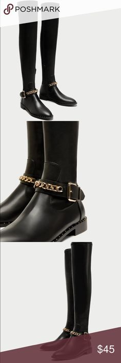 •Zara flat over the knee boots• chain detail on the instep, micro-studs around the welt, gold metal hardware and side zip fastening.  Sole height 1.8 cm. / 0.7″ Zara Shoes Over the Knee Boots
