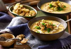 Cream of Chicken Soup |  A classic winter warmer served with crunchy pesto croutons, YUM!