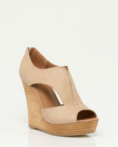 have these :)  Le Château: Leather Cutout Wedge Sandal