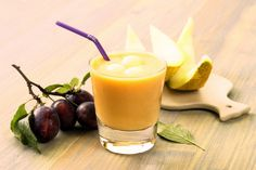 Smoothies Melon and plums Dessert Recipes, Desserts, Cantaloupe, Plum, Smoothies, Panna Cotta, Fruit, Ethnic Recipes, Food
