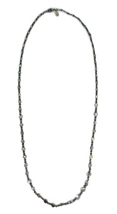 "26"" Black Rhodium Silver Bezel Set Sliced Diamond Necklace"