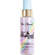Too Faced Festival Refresh Mystical Effects Setting & Refreshing Spray fl ml New in Box. This mystifying makeup setting and refreshing spray is infused with opalescent pearls for all-over sparkling illumination. Makeup Set, Beauty Makeup, Face Makeup, Drugstore Beauty, Makeup Ideas, Maquillage Too Faced, Crystal Lips, Face Spray, Makeup Spray