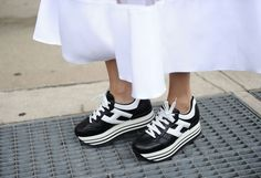Hogan platform sneakers spotted outside DVF's Fashion Week show.