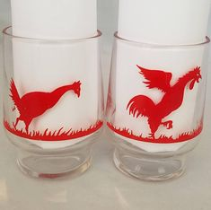 A Pair of Federal Glass Rooster Juice Glasses made in 1948,  Federal Rooster Cocktail Glasses by Mycyberattic on Etsy