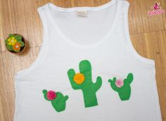 Decorare una maglietta con cactus in pannolenci - Ispirando