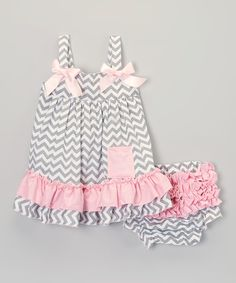 Look at this Gray & Pink Chevron Swing Top & Diaper Cover - Infant on #zulily today!