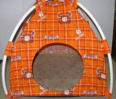 Clemson Tigers Handmade Fabric Pup Tent Pet Bed. Avail @ http://stores.sharonsdecoratedbooks.com/ Beds r made when ordered and payment is received. The average time that it takes for the Bed to ship after payment is usually 5 biz days. The Pet Beds are made of licensed cotton NCAA College material, but are not licensed by the NCAA College. They are handcrafted and resold under rights granted by the 1st sale doctrine. We are not affiliated with The Licensed Company in any way. ***22$ Sm  27$…