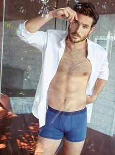 Justice Joslin Poses for Simons Underwear Look Book - Fashionably Male Marlon Teixeira, Francisco Lachowski, Justice Joslin, Underwear, Men's Undies, Beard Model, Sexy Beard, Hipster, Suit Shirts