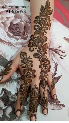 Khafif Mehndi Design, Floral Henna Designs, Mehndi Designs Book, Finger Henna Designs, Full Hand Mehndi Designs, Mehndi Designs 2018, Mehndi Designs For Girls, Mehndi Designs For Beginners, Modern Mehndi Designs