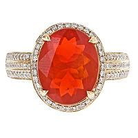 Color Jewels Fire Opal and Diamond Ring in 14k White Gold - Sam's Club