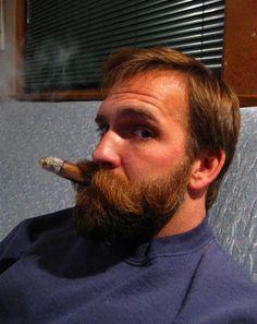 A 'gar-smokin' Father, seeing that his son is checking him out. Bald With Beard, Full Beard, Beard Love, Walrus Mustache, Beard No Mustache, Ginger Men, Ginger Beard, Great Beards, Awesome Beards