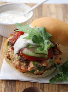 Salmon Burgers with Caper Mayo by dinnerwithjulie #Burgers #Salmon #Healthy