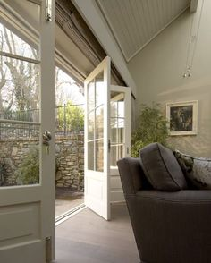 Interior french doors add a beautiful style and elegance to any room in your home. Front Door Entrance, Entrance Decor, Glass Front Door, Entry Doors, Glass Door, Porch Doors, Interior Barn Doors, Exterior Doors, Orangerie Extension