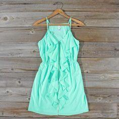 Aqua Smoke Dress, Sweet Women's Bohemian Clothing