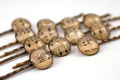 Music Geek Upcycled Bobby Pins. Love these so much.