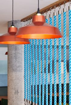 Holiday Inn Express Aberdeen | Copper Factory Lights | Fishing Boat Rope Divider | Polished Concrete Column