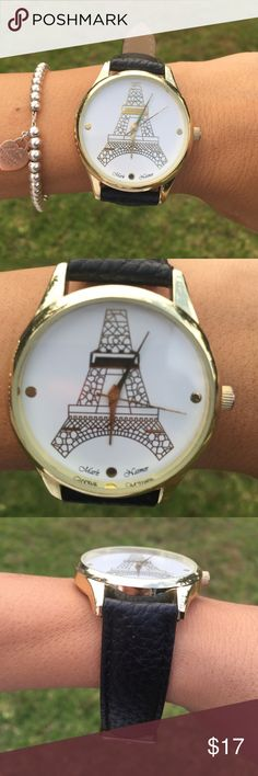 Eiffel Tower Watch Eiffel Tower watch with gold accents and black strap. Accessories Watches
