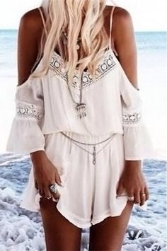 White beach jumpsuit