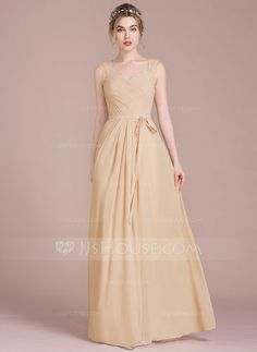 [US$ 132.69] A-Line/Princess Sweetheart Floor-Length Chiffon Prom Dress With Ruffle Lace Beading Sequins Bow(s)