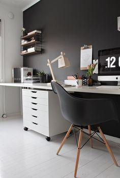 dark grey home office