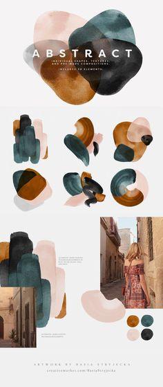 Abstract Watercolor Shapes - Colour palettes - Abstract Watercolor Shapes and Backgrounds in Blush, Rust, Blue, Gray and Black. Colour Pallete, Colour Schemes, Color Palettes, Illustration Design Graphique, Illustration Art, Deco Design, Color Inspiration, Artsy, Colours