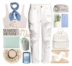 """""""WHITE DENIM"""" by jess-innes ❤ liked on Polyvore featuring H&M, Puma, Soludos, BP., Allstate Floral, Manipuri, DOWNLITE, Chesapeake Bay Candle, August Hat and Meli Melo"""