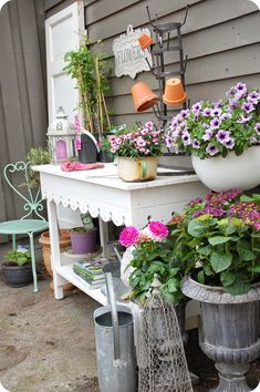 you could add the trim from your cabinets to the underside of a table!     potting table