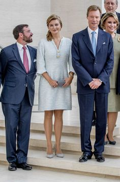 Grand Duke Henri, Grand Duchess Maria Teresa, Hereditary Grand Duke Guillaume and Hereditary Grand Duchess Stephanie of Luxembourg attend the yearly meeting of the heads of State of german-speaking countries in Luxembourg on 27 September 2017.