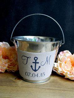 Anchor Flower Girl Pail Bucket Nautical Beach Navy Initials & Date Personalized Nautical Wedding Beach Wedding Navy Wedding  Flower Girl