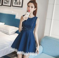 Chic 2017 Sleeveless Korean Style Lace Hem A-line Summer Casual Denim Jean Dress Korean Fashion Summer, Korean Street Fashion, Jean Shirt Dress, Short Frocks, Frock For Women, Gong Yoo, Chic Dress, Korean Outfits, Fashion Outfits