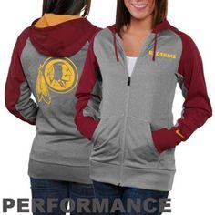 Nike Washington Redskins Ladies Die-Hard Full Zip Performance Hoodie - Ash/Burgundy