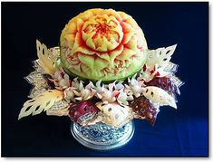 fruit and vegetable  flora arrangements | Fruit & vegetable carving is an old tradition in Thailand that started ...