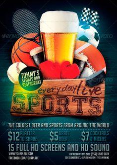 Sports Bar Flyer Template - http://www.ffflyer.com/sports-bar-flyer-template…