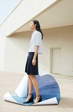 Pleated skirt and button shirt