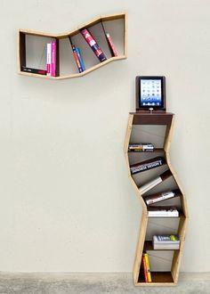meuble salon étagères en forme asymétrique en bois rangement de vos livres
