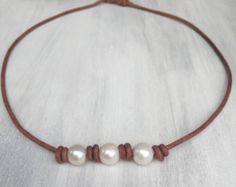 Gargantilla perla collar  cuero perla  regalo por Carolinelenox