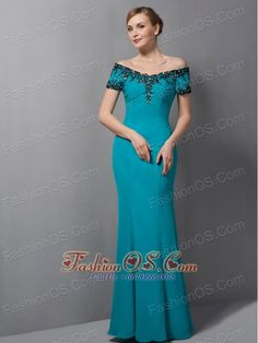 Gorgeous Teal Mermaid Mother Of The Bride Dress Off The Shoulder Appliques Floor-length Chiffon- $134.12http://www.fashionos.com  http://www.facebook.com/quinceaneradress.fashionos.us  This mermaid-style formal dress will make a great pick for bridesmaids or those attending a special event. This dress has short sleeves and a off-the-shoulder neckline trimmed in delicate lace with beadings.