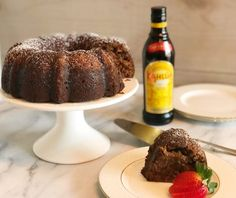 An amzing boozy bundt cake: this Chocolate Kahlua Cake recipe is so EASY! Start with a yellow cake mix and add in the extras. Chocolate Rum Cake, Super Moist Chocolate Cake, Chocolate Recipes, Cake Mix Recipes, Pound Cake Recipes, Dessert Recipes, Kahlua Cake, Protein Cake, Box Cake Mix
