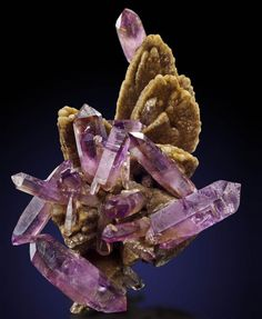 Quartz var.Amethyst on Calcite - Veracruz, Mexico