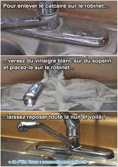 Pour enlever le calcaire sur le robinet......versez du vinaigre blanc sur du sopalin et placez-le sur le robinet......laissez reposer toute la nuit et voilà !