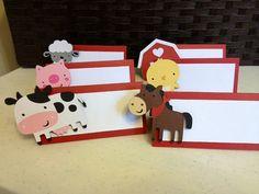 12 Farm Animal Barnyard Animal Place Cards Food by AngiesDesignz, $15.00