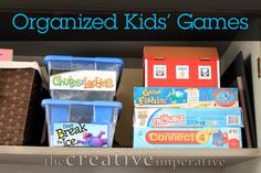 The Creative Imperative: Using Storage Bins to Organize Kids' Games (and other stuff too) Use plastic storage boxes to house board games instead of original game boxes that are different sizes and ripped Plastic Box Storage, Plastic Bins, Storage Bins, Storage Solutions, Kids Room Organization, Organization Hacks, Organization Ideas, Games Box, Board Games