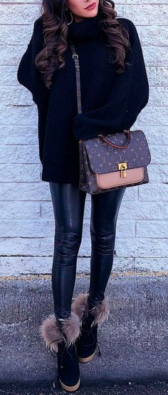 Fashion For Women. Winter outfit. Winter fashion style. H&M turtleneck, Parkhust Black Cape, Lysse Leggings, Jessica Simpsons Booties, J.Crew Earrings, Hypnotic lipstick, Chanel Handbag. Emily Ann Gemma, The Sweetest Thing Blog. #EmilyAnnGemma #TheSweetestThingBlog #FashionStyle #WomenFashion