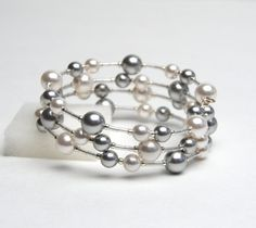 Lovely!! I am always a sucker for beautiful silver jewelry! And pearls! Large Wrist Floating Pearl Memory Wire Bracelet - Swarovski Pearl Bracelet in White and Silver Gray - Plus Size Bracelet - Handmade Jewelry