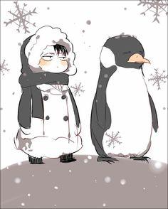 Shingeki no Kyojin - Levi and penguin