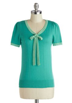 Barista in the City Top in Jade - Mid-length, Green, Solid, Bows, Tie Neck, Work, Short Sleeves, Mint