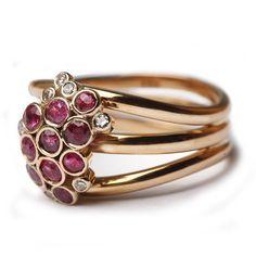 Ruby and diamond cluster ring - Bespoke Gemstone Rings - Bespoke Jewellery