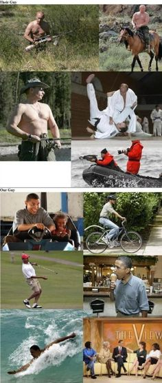 Obama vs. Putin_no contest! Question: is Obama riding a girl's bike?!?