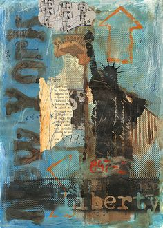Items similar to New York Gate of Liberty - Emanuel Ologeano Limited edition Print of mixed media collage on Etsy Surrealism Painting, Oil Painting Abstract, Watercolor Paintings, Art Journal Inspiration, Art Inspo, Cityscape Drawing, Mixed Media Scrapbooking, Collage Artists, Mixed Media Collage
