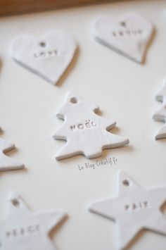 DIY: make your Christmas deco yourself with hardening modeling clay, … - NOEL Clay Christmas Decorations, Easy Christmas Crafts, Noel Christmas, Simple Christmas, Christmas Ornaments, Christmas Girls, Handmade Christmas, Theme Noel, Xmas Gifts